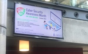 Image of CSAM 2019 banner on digital screen in Bahen Centre