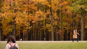 Landscape image of students walking outdoor among fall trees