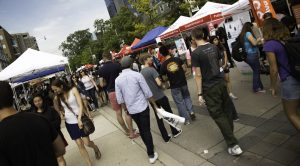 Outdoor crowd at University of Toronto Students' Union Street Festival